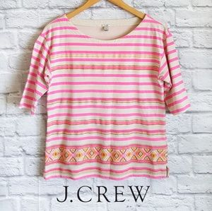 NWOT J. Crew Striped Embroidered Top